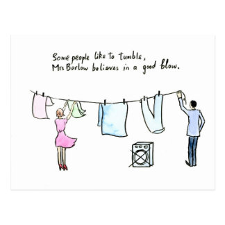 Rude Laundry Joke Good Blow Postcard