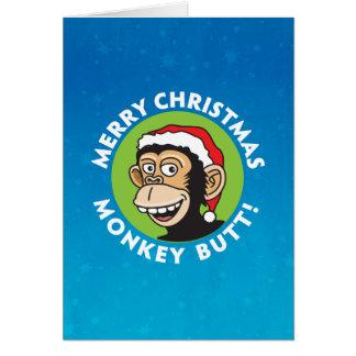 Rude Monkey Christmas Greeting Card