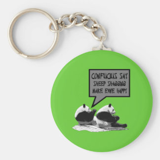 Rude slogan Confucius say Basic Round Button Key Ring