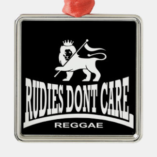Rudies Don't Care - SKA - Rudeboys - Mods Silver-Colored Square Decoration