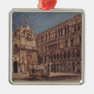 Rudolf Alt- The courtyard of the Doge's Palace Christmas Ornament