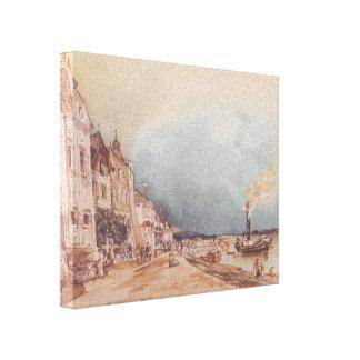 Rudolf Alt- The landing site in Stein an der Donau Canvas Prints
