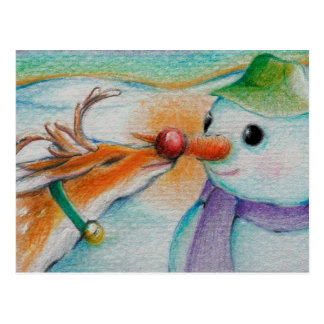 Rudolf meets the snowman postcard