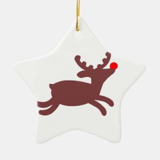 Rudolf Reindeer Ceramic Star Decoration