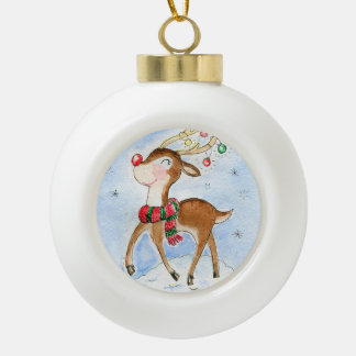 Rudolf reindeer Snow Ceramic Ball Decoration
