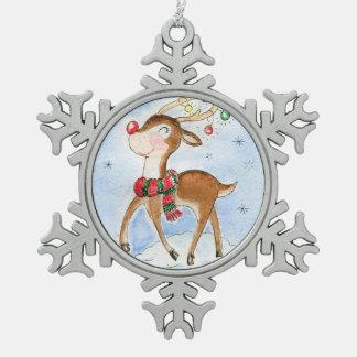 Rudolf reindeer Snow Snowflake Pewter Christmas Ornament