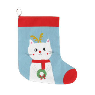 Rudolf the Personalized Red Nose Cat Large Christmas Stocking