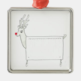 Rudolf the Red Nosed Radiator Silver-Colored Square Decoration