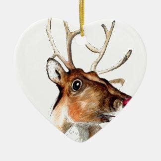 Rudolf the red nosed reindeer ceramic heart decoration