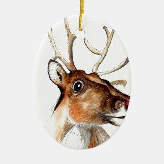 Rudolf the red nosed reindeer ceramic oval decoration