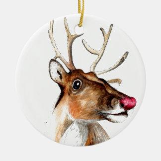Rudolf the red nosed reindeer round ceramic decoration