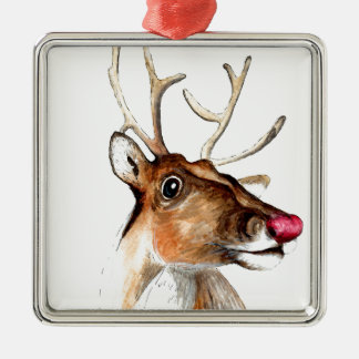 Rudolf the red nosed reindeer Silver-Colored square decoration