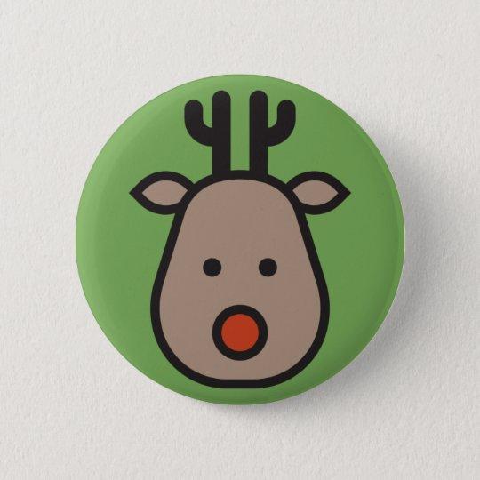 Rudolf the Reindeer Christmas Green Round Button