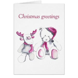 Rudolph and bear Christmas greetings Card