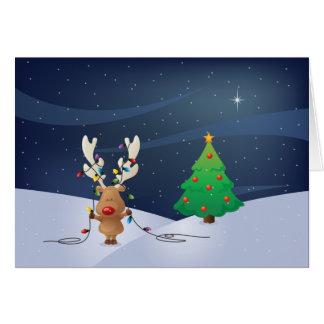 Rudolph Christmas Lights Card