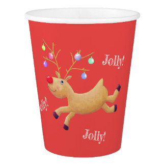 Rudolph Classic Holiday paper cups