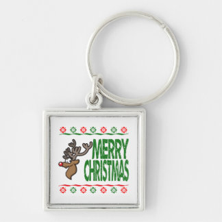 Rudolph Deer Merry Christmas Ugly Xmas Sweater Keychain