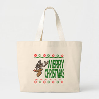 Rudolph Deer Merry Christmas Ugly Xmas Sweater Bags
