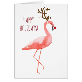 Rudolph flamingo funny holidays card