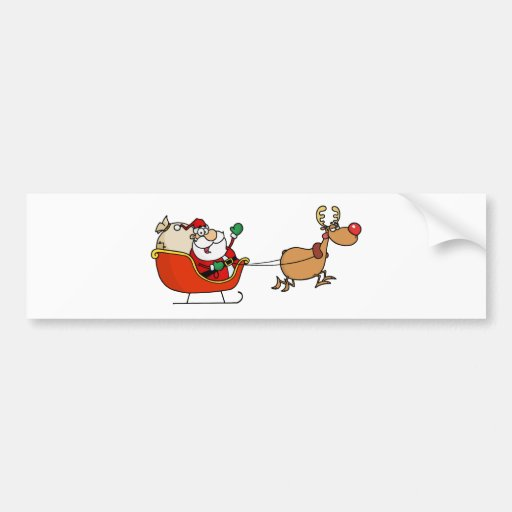Rudolph Flying Kris Kringle In His Sleigh Bumper Stickers