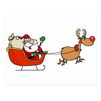 Rudolph Flying Kris Kringle In His Sleigh Postcard