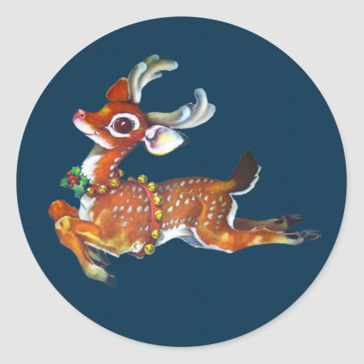 Rudolph Red Nose Reindeer Vintage Art Round Sticker