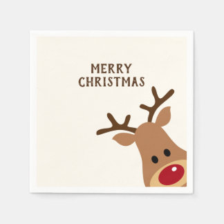 Rudolph Reindeer Merry Christmas Paper Napkin