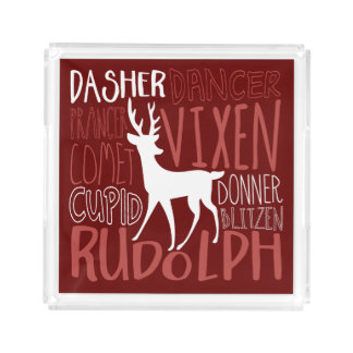 Rudolph Reindeer Silhouette Acrylic Tray