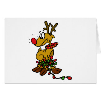 rudolph tangled in lights card