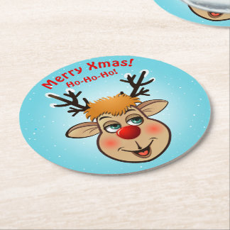 Rudolph - The Most Famous Reindeer Of All Round Paper Coaster