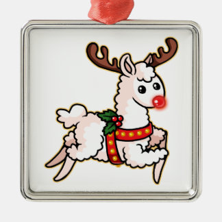 Rudolph the Red-Nosed Llama Christmas Ornament