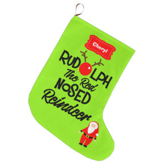 Rudolph The Red Nosed Reindeer Personalized Large Christmas Stocking