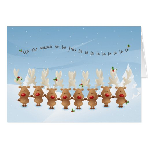 Rudolph the Reindeer Christmas Holiday Song Card