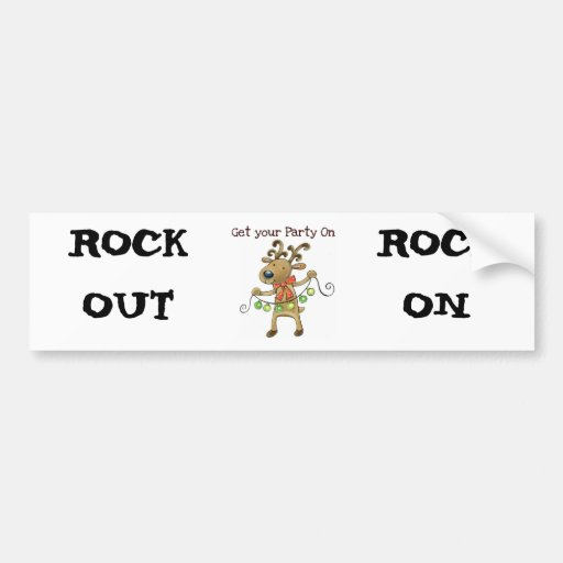 """RUDOLPH THE REINDEER """"GET YOUR PARTY ON"""" BUMPER STICKERS"""