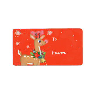 Rudolph The Reindeer Gift Address Label
