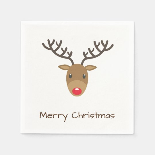 Rudolph The Reindeer Merry Christmas Paper Napkins