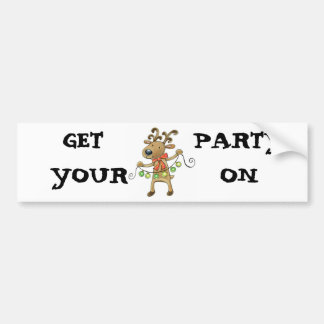 RUDOLPH THE REINDEER STRINGING PARTY LIGHTS BUMPER STICKER