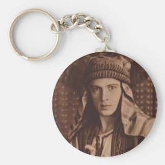 Rudolph Valentino as The Sheik Basic Round Button Key Ring