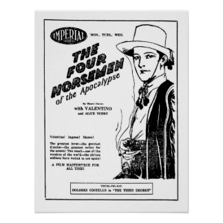 Rudolph Valentino Four Horsemen of Apocalypse ad Poster