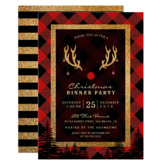 Rudolph's Antlers American Christmas Dinner Party Card