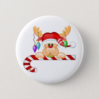 Rudy Candy Cane 6 Cm Round Badge