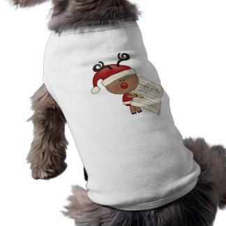 Rudy Reindeer Naughty or Nic Sleeveless Dog Shirt