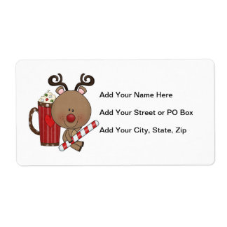 Rudy Reindeer With Cocoa Shipping Label