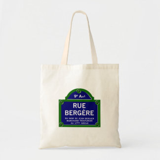 Rue Bergere, Paris Street Sign Tote Bag