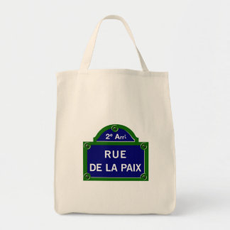 Rue de la Paix, Paris Street Sign Grocery Tote Bag