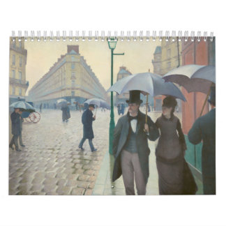 Rue de Paris Temps de Pluie by Gustave Caillebotte Wall Calendar