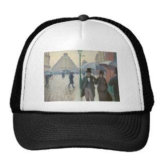 Rue de Paris Temps de Pluie by Gustave Caillebotte Mesh Hats
