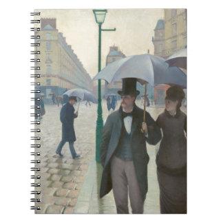 Rue de Paris Temps de Pluie by Gustave Caillebotte Spiral Notebook