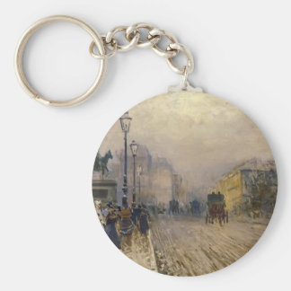 Rue de Paris with Carriages by Giuseppe de Nittis Keychain