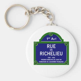Rue de Richelieu, Paris Street Sign Basic Round Button Key Ring